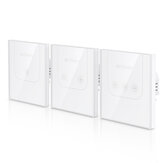 BlitzWolf® BW-SS3 EU/US 1/2/3 Channel 10A WIFI Touch Remote Control Wall Smart Home Switch Tempered Glass Panel Work with Amazon Alexa Google Assistant