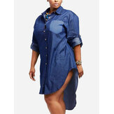 Buttons Down Asymmetrical Casual Shirt Denim Mini Dress