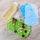 Godmorn 2 verpakkingen van 74 kubussen Hexagon siliconen ijsblokjesvorm IJsvorm met deksel voor babyvoeding en reep