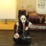 Skull Shape Resin Backflow Incense Burner Tower Statue Figurine Ghost Head Home Decor