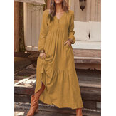 Women Solid Color O-neck Casual Maxi Dress