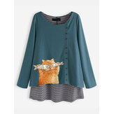 Cartoon Cat Stripe Blouse