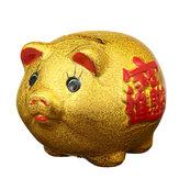 5 '' Oro Cerámico Piggy Bank Mini Cute Pig Niños Colección de monedas Decoraciones de regalo