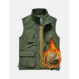 Mens Fleece Lining Thickened Warm Multi Pockets На открытом воздухе Жилет