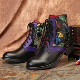 Women Watercolor Painting Genuine Leather Ankle Boots
