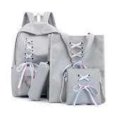 4Pcs/Set Canvas Backpack Rucksack Teenage Girls School Bag Handbag Outdoor Travel