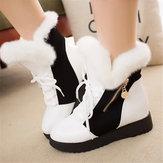 النساء الفراء بطانة خياطة شتاء دافئ عالية أعلى عارضة أحذية الثلوج منتصف العجل
