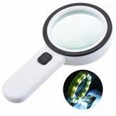30X12LED Işıkları Yüksek Büyütme Büyüteç Çift Lens Yükseltilmiş Büyüteç Lamba Büyüteç