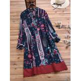 Ethnic Embroidered Print Patchwork Long Sleeve Vintage Dress