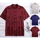Mens Kung Fu Shirts Stain Silk Short Sleeve Chinese Casual Loose Traditional Top