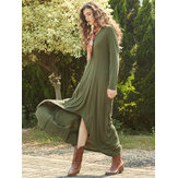 Irregular Loose Solid Color Long Sleeve Maxi Dress For Women