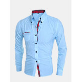 Mens Cotton Breathable Long Sleeve Pocket Button down Shirts