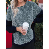 Plus Size Splice Crew Neck Side Split Fleece Sweatshirt