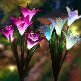 3 Pc 4 Cabeça Lily Flor Luz Solar Colorful LED Lâmpada de Gramado Decorativa Ao Ar Livre Jardim de Casa IP65 À Prova D 'Água Flor Luz Da Noite