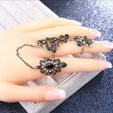 Anéis de flor estereoscópicos a céu aberto geométricos do vintage banhado a ouro strass anel duplo ajustável