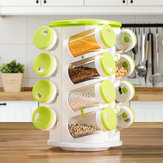 360 Rotating Portable Spice Jar Rack Kitchen Countertop Display Organizer 16 Jar Two Type Holes Spice Bottle Holder Stand Shelf Kitchen Storage Container