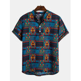 Mens Summer Ethnic Style Printed Turn Down Colla Shirts
