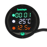 LED 5-in-1 9V-24V Night Vision USB Charger Time Water Temperature Voltage Display Meter Gauge For Automobile Motorcycle UTV ATV