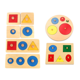 Wooden Geometric Puzzle Board Kids Educational Jigsaw Stacker Toddler Jigsaw Puzzle Toy for Children Gifts