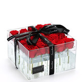 Clear Acrylic Rose Flower Box Makeup Organizer Artificial Flower Bouquet Wedding Decorations