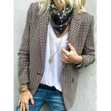 Women Casual Plaid Turn-down Collar Pocket Blazers