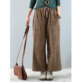 Vintage Corduroy Muti-pocket elastische broek met wijde pijpen