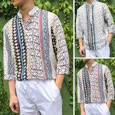 Мужчины Цветочные Dashiki Стиль Причинно Рубашка Хиппи с длинным рукавом 3/4 мексиканская футболка Топ Tee