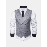 Men Business Solid Color Lapel Collar Vest