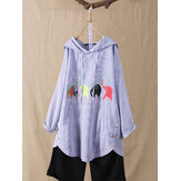 Elephant Print Button Hooded Irregular Stripe Blouse