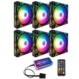 Coolmoon BILLOW 6PCS 12cm Multilayer Backlit RGB CPU Cooling Fan Computer PC Case with the RF Wireless Remote Control