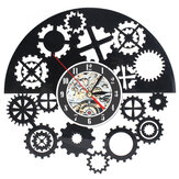 Steampunk Cog Wall Clock Gears Vinyl Record Wall Clock Home Office Decor
