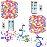 Música à prova d 'água USB ativada por som 10M LED String Light Wedding Christmas Decor with 17Keys Controle Remoto