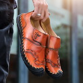 Men Genuine Leather Hand Stitching Soft Flats