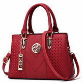 Womens Purses and Handbag Vintage Shoulder Bag Lichi Pattern Large Tote Bag Top Handle Satchel with Long Metal String Decoration