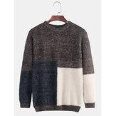 Herren Rundhals Trend Fashion Loose Thick Stitching Contras