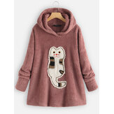 Fleece Cartoon Gato Patch Sudadera con capucha de manga larga