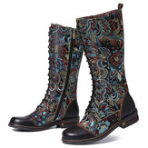 SOCOFY Flowers Pattern Colorful Elegant Zipper Boots
