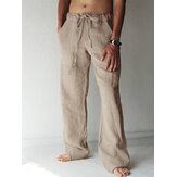 Herren Casual Baumwolle Leinen Baggy Harem Yoga Hosen Drawstring Long Slacks Hosen