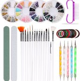 Nail Art Supplies, 37pcs Professional Nail Art Tools Kit with Nail Art Jewelry Nail Art Brushes Dotting Pen Striping Tape Clean Brush and Nail Files