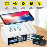 Qi Wireless Phone Charger QC3.0 Smart LCD Clock 48W 5 Ports 2.1A Adapter Temperature Display Desktop Charging Station For iPhone Adapter+TypeC