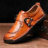 Original              Cow Leather Stitching Elastic Band Casual Business Oxfords