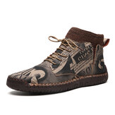 Cow Leather Camouflage Weave Sock Mouth Casual Boots