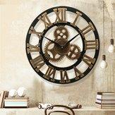 19-calowe antyczne cyfry rzymskie Cichy zegar ścienny Rustykalne koło zębate Drewniany wystrój zegara