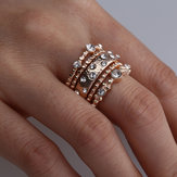 Stapelbarer Ring Set Metall Geometrischer Strass Inlay Ring