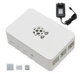 Nero / Bianco / Trasparente Raspberry Pi ABS Custodia Scatola V4 Con dissipatore di calore + 5V3A Alimentatore Spina UE Kit fai da te per Raspberry Pi 4B