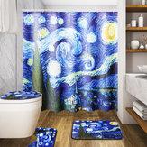 180x180cm The Starry Night Pattern Bathroom Waterroof Shower Curtains Toliet Mat 12 Hooks