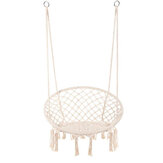 Hammock Chair Macrame Swing Handmade Knitted Hanging Cotton Rope Chair for Home Patio Deck Yard