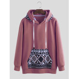 Mens Fashion Hooded Pattern Printing Long Sleeve Pullover