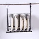 Foldable Kitchen Black Wall Hanging Dish Storage Shelf Organizer Rack Holder NO Drill for Space Saving