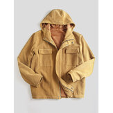 Mens Vintage Corduroy Hooded Practical Pockets Jacket